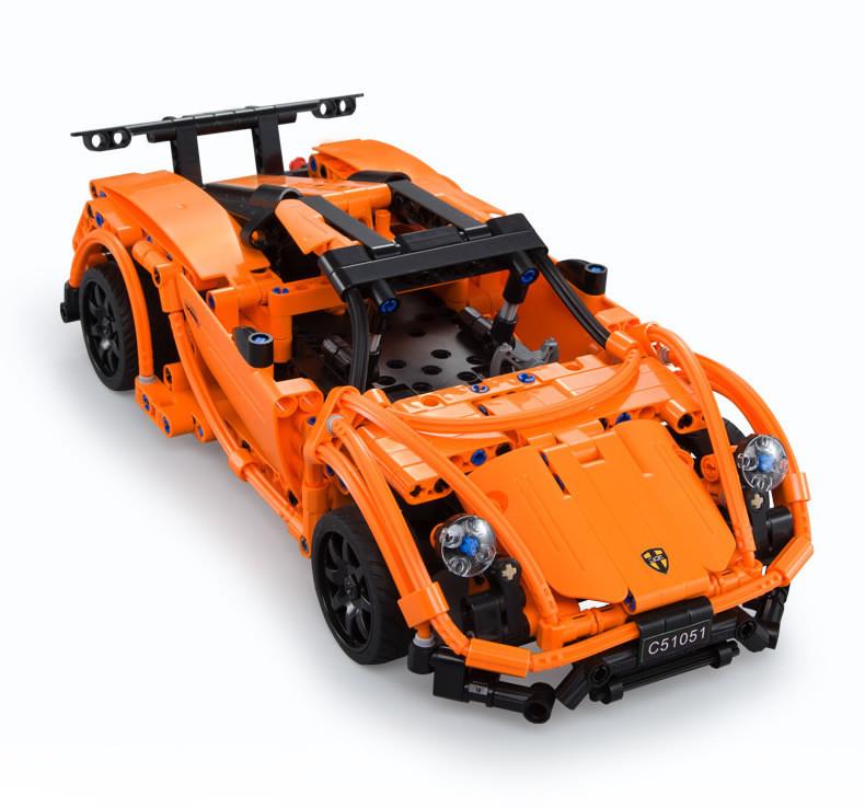 【儿童玩具】遥控积木赛车男孩DIY益智玩具SY-C51051橙色