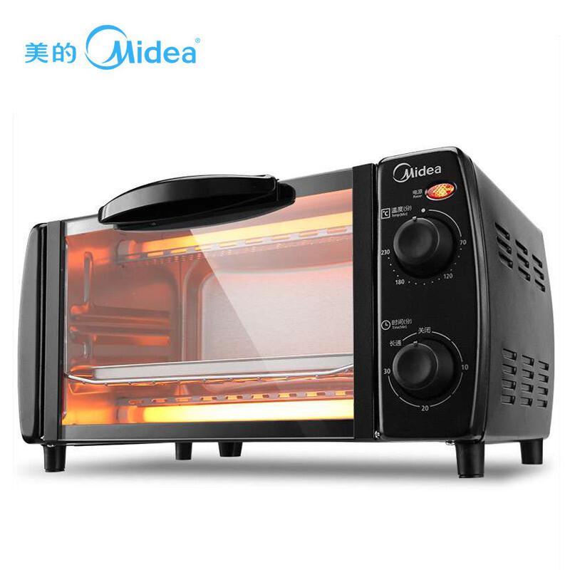 【美的】烤箱家用 10L容量 迷你小烤箱  T1-108B黑色