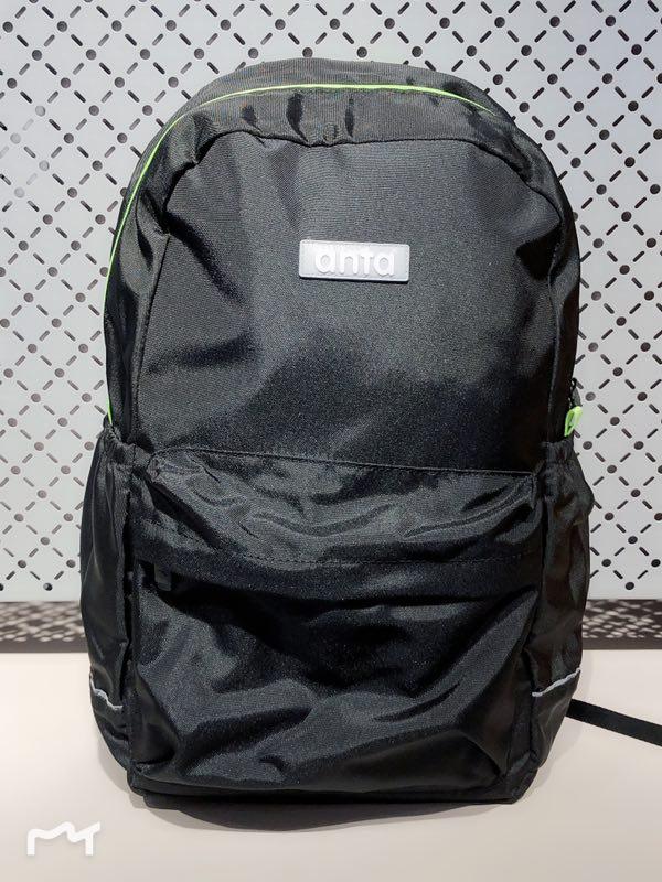 安踏 男双肩包运动学生书包儿童背包黑色休闲包39918153-3
