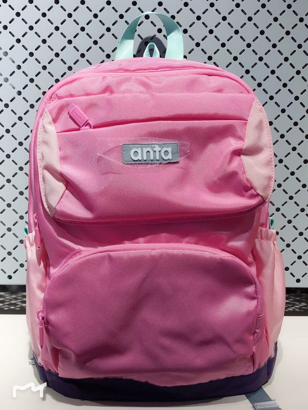 安踏 学生休闲双肩包儿童背包粉红书包39918151-4