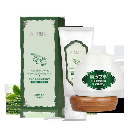 膜法世家绿豆清肌亮采泡沫洁面膏150g+白松露睡眠面膜125g