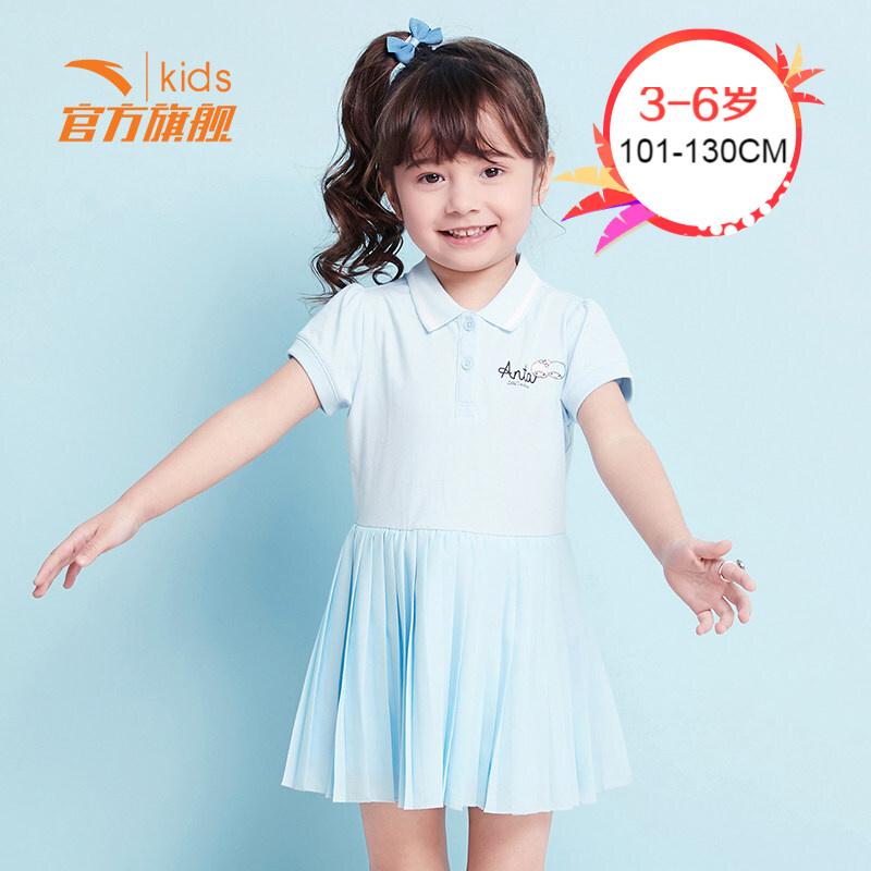 安踏女宝宝裙子2019童装夏季新款短裙 洋气连衣裙天蓝色36929313-1