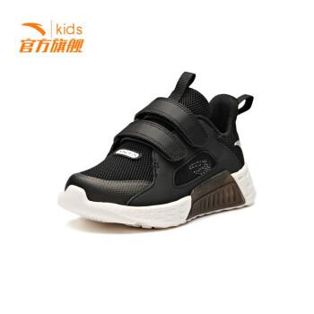安踏童鞋2019夏季新款跑步魔术贴运动鞋户外休闲鞋  黑/象牙白33929905-3