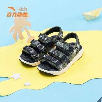安踏童鞋2019夏季新款休闲魔术贴小童鞋沙滩鞋   深橄榄绿/黑33929946-3