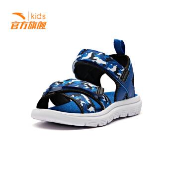 安踏童鞋大童幼儿园小学生魔术贴沙滩鞋 户外凉鞋  蓝绸色/黑/安踏白/荧光绿33929985-3