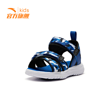 安踏童鞋 婴童鞋迷彩凉鞋2019年新款条纹宝宝学步鞋  蓝绸色/黑33920085-3
