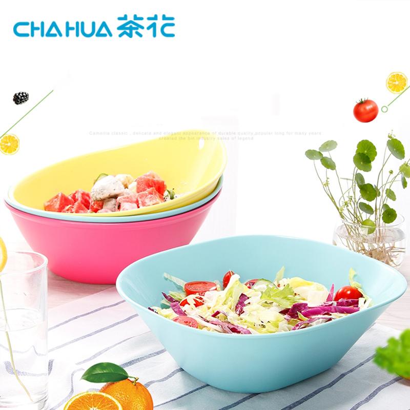 茶花(CHAHUA) 水果盘果盆客厅创意塑料沙拉碗家用多功能洗水果盆置物盆 【2787方形3个装】随机颜色