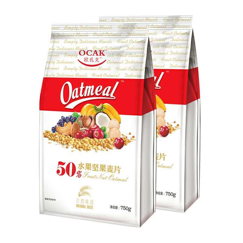 欧扎克50%水果坚果麦片冷冲饮即食燕麦成人营养早餐零食脆麦750g*2袋
