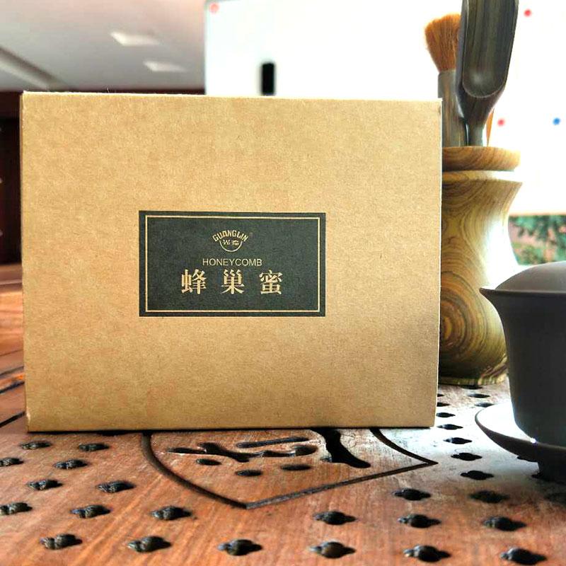 光临蜂巢蜜天然成熟蜂蜜500g*2 礼盒装蜂巢蜜(木盒)农家自产嚼着吃