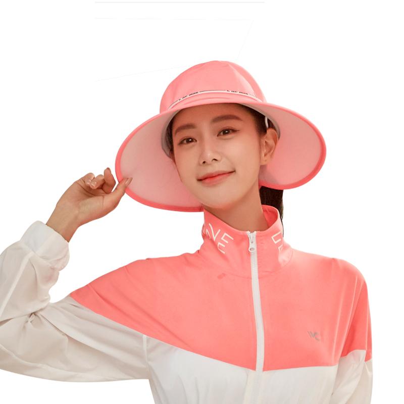 韩国vvc 2019新款大圆帽渔夫帽防晒帽女夏遮阳帽韩版盆帽太阳帽 粉红色