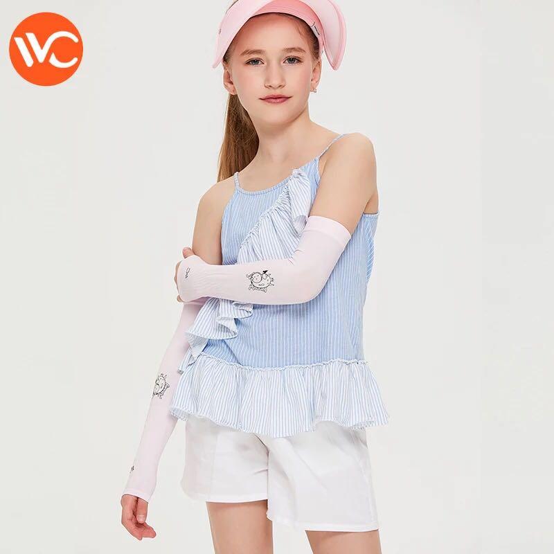 韩国vvc 儿童冰丝袖套夏季防晒袖子防紫外线手臂套长款卡通护臂套 粉色(2对装)