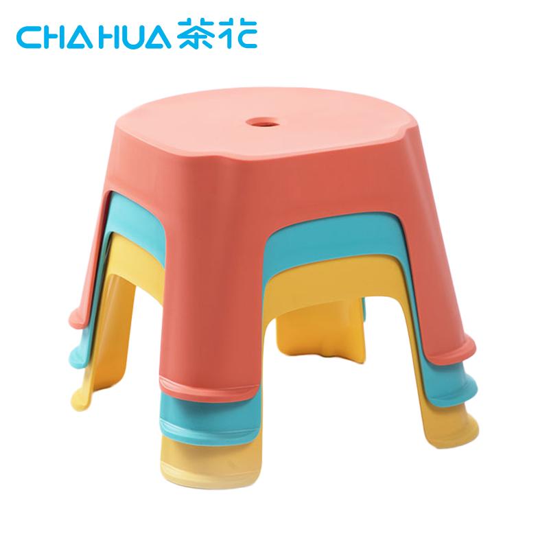 茶花(CHAHUA)茶花塑料凳浴室防滑凳子加厚成人换鞋凳格林儿童矮凳方凳小板凳家用 111001*2