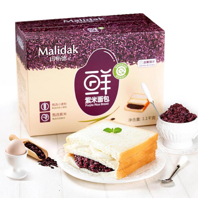 玛呖德 紫米面包夹心奶酪糕点吐司1100g