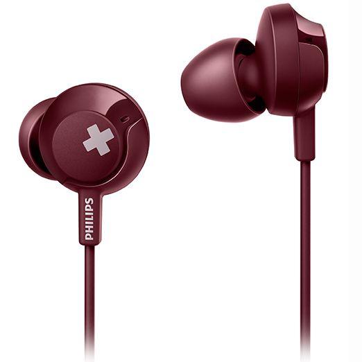 飞利浦SHE4305耳机入耳式耳麦重低音炮有线线控带麦挂耳式电脑通用男女生运动耳塞适用苹果vivo安卓oppo手机