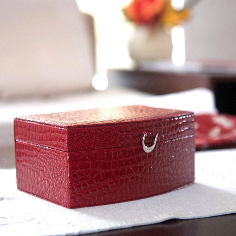 多样屋TAYOHYA鳄鱼纹多功能首饰盒/红/T皮革便携收纳盒公主饰品首饰盒