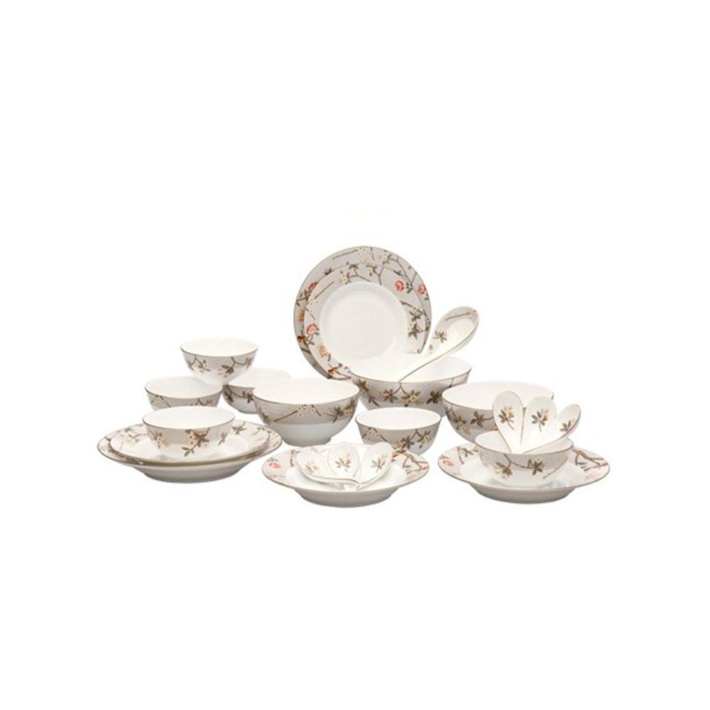 多样屋TAYOHYA喜上眉梢16头骨瓷中餐具组/T碗碟餐具套装家用组合欧式新骨瓷碗盘陶瓷碗碟盘子