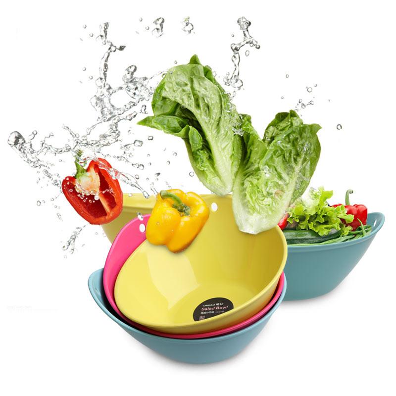 茶花(CHAHUA)茶花水果沙拉碗盘方形椭圆形水果盘碗塑料盘冰淇淋碗果蔬盘甜品碗 三个装