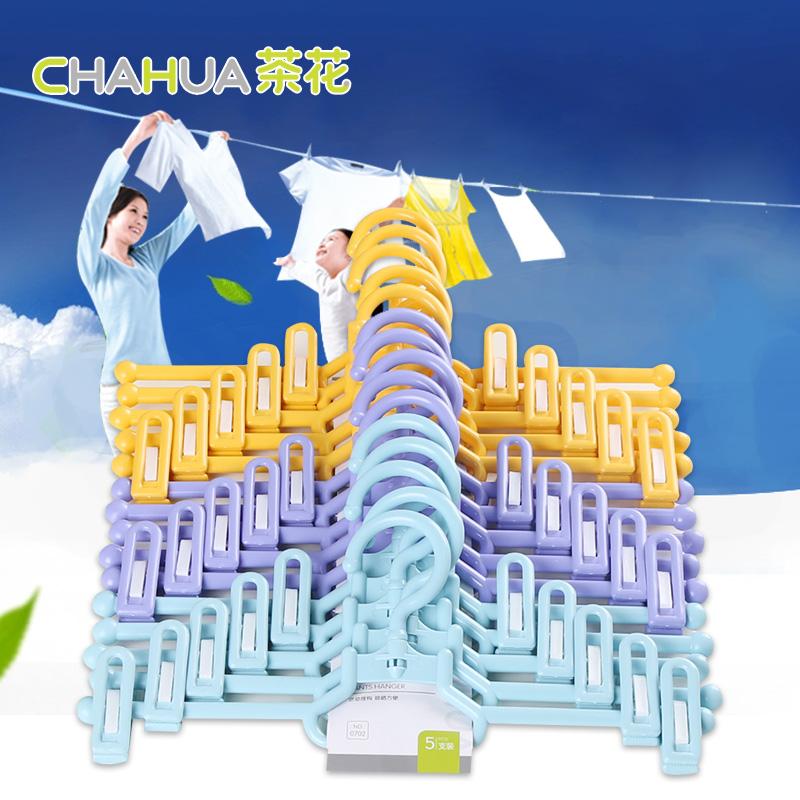 茶花(CHAHUA)茶花夹子衣架衣裤架子塑料裤架裤夹裤挂 三组15只装