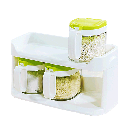 茶花(CHAHUA)茶花玻璃调味罐套装厨房调料盒调味瓶调料罐调味盒置物架一组三个