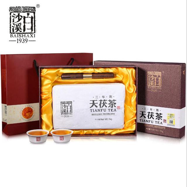湖南安化安华黑茶 正宗白沙溪一级料金花伏砖礼盒三年陈天茯茶1kg