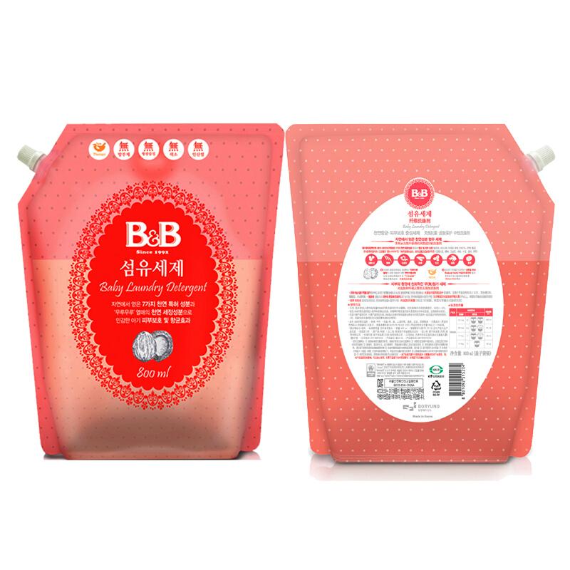 保宁韩国原装进口可手洗婴幼儿新生儿童专用洗涤剂袋装宝宝衣物清洁洗衣液补充装800ml袋装