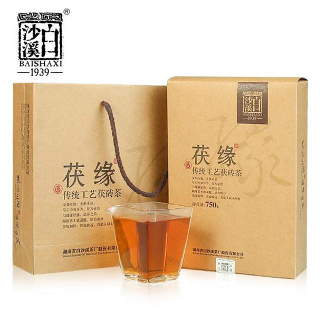 白沙溪黑茶原叶金花茯砖茶安化本地料 茯缘750g无烟清香型