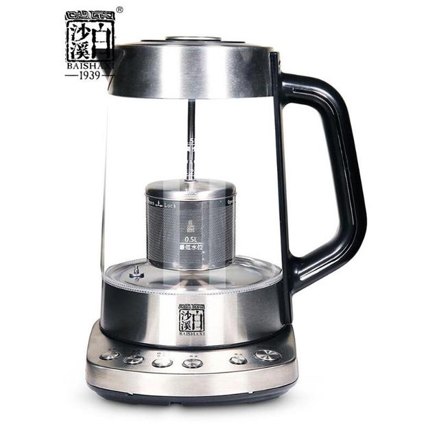 白沙溪加厚玻璃茶器具 黑茶花茶家用电茶壶 全自动智能煮茶养生壶