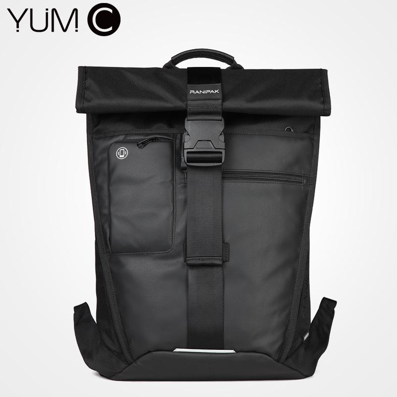 美国YUMC 双肩包男商务背包男士背包出差大容量潮 黑色