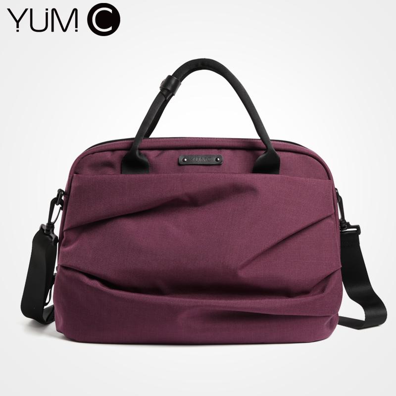 美国YUMC单肩斜挎手提包尼龙公文包女大容量贝壳电脑包13寸白领商务包