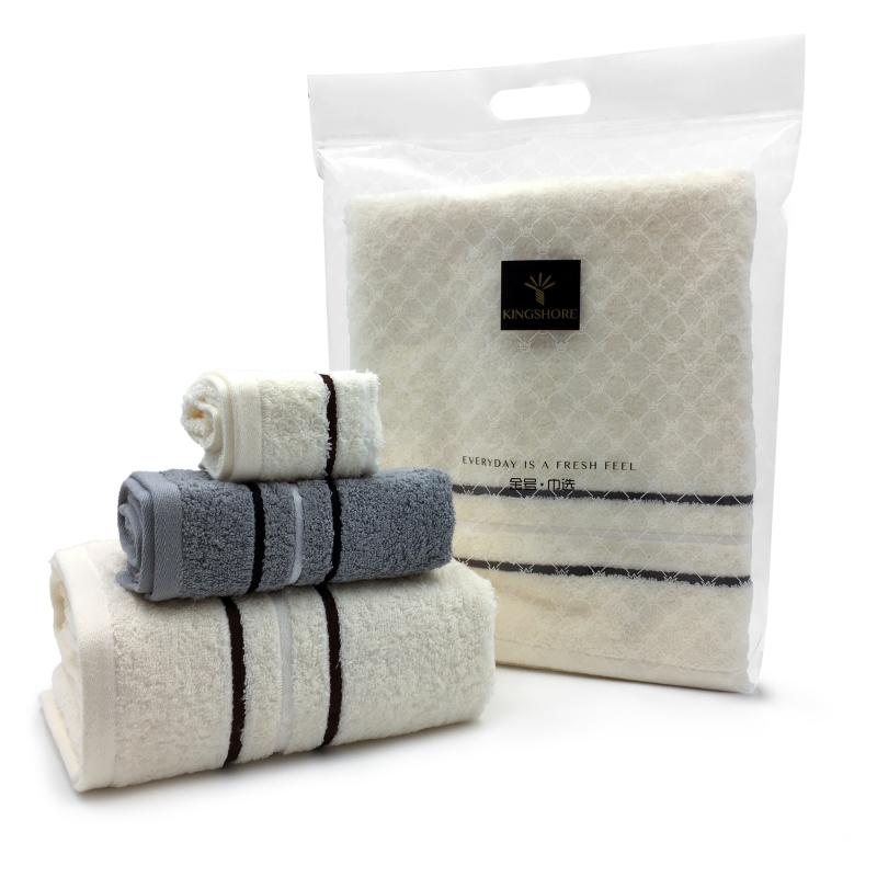 金号毛巾清然系列-26  浴巾方巾毛巾巾选袋装米白HY3118