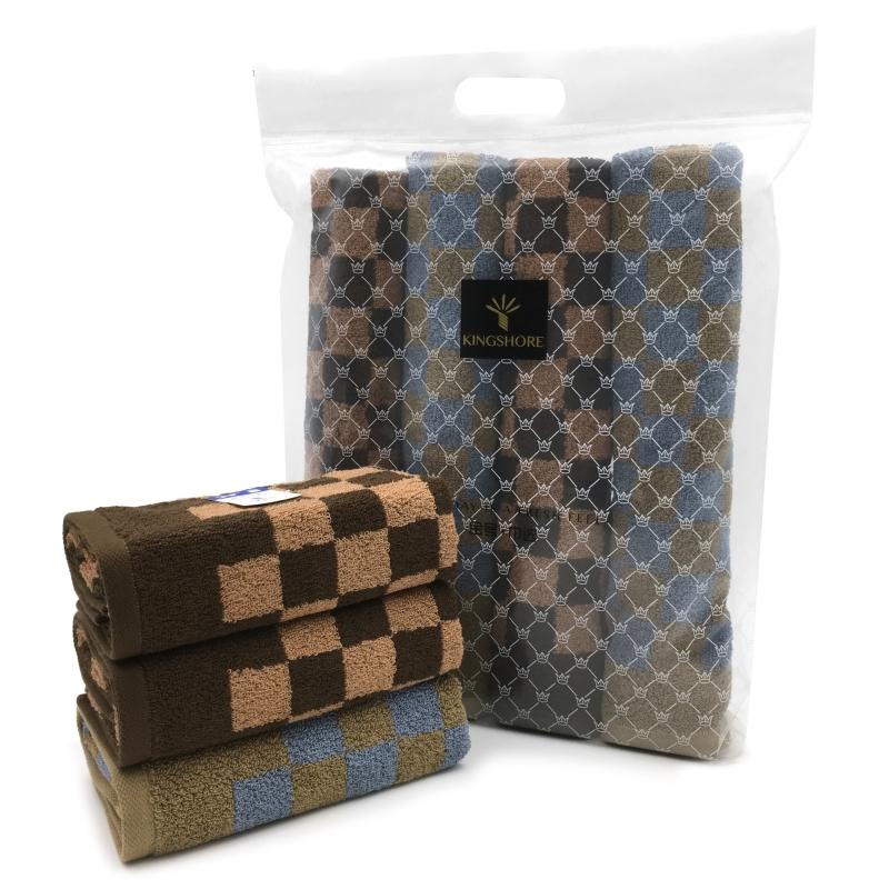 金号毛巾格拉斯哥系列-19 四条毛巾巾选袋装蓝格+棕格HY1168