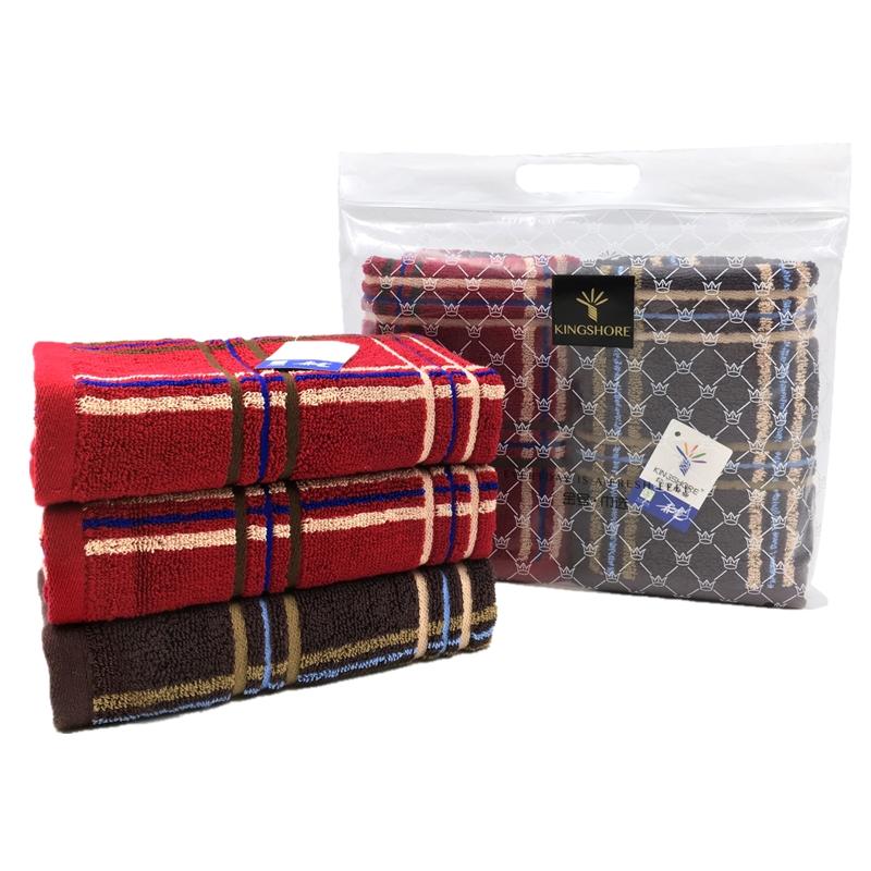 金号毛巾维多利亚系列-8 双条毛巾巾选袋装红色+棕色HY1014