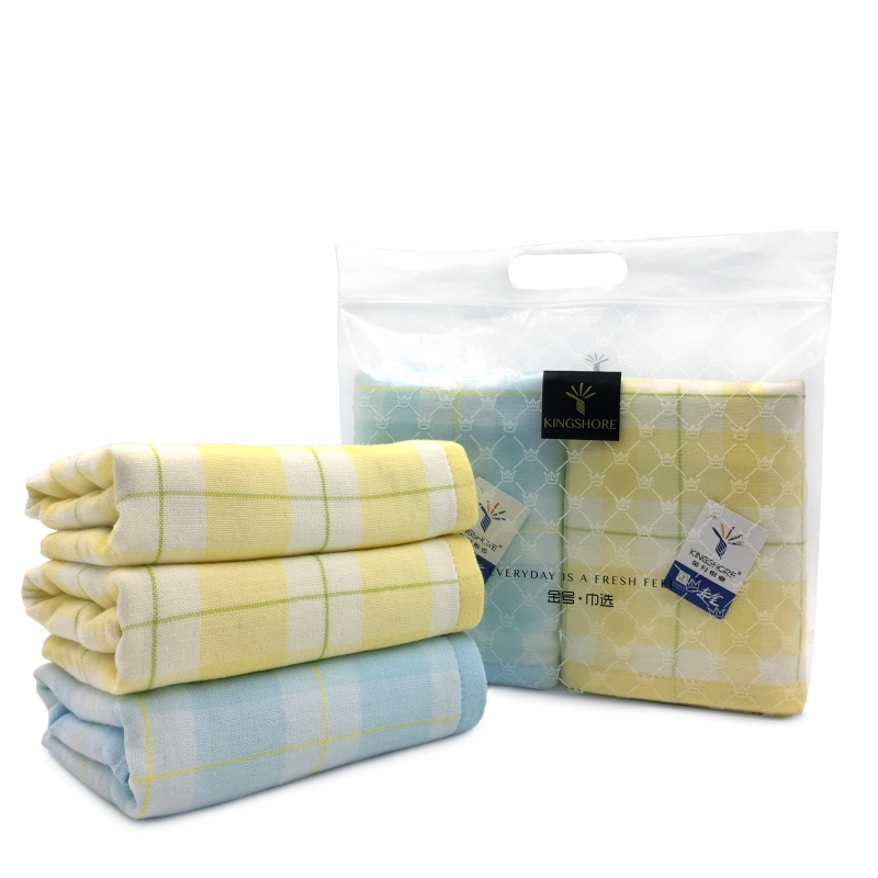 金号毛巾纱柔A类婴幼儿标准系列-9 双条纱布毛巾巾选袋装蓝色+黄色HY1983