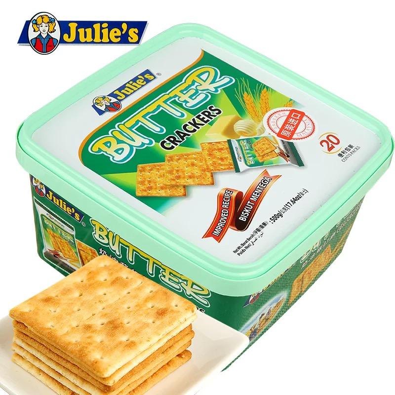马来西亚进口茱蒂丝奶油苏打饼干咸味零食梳打饼干整箱 酥脆可口 奶油苏打饼干500g