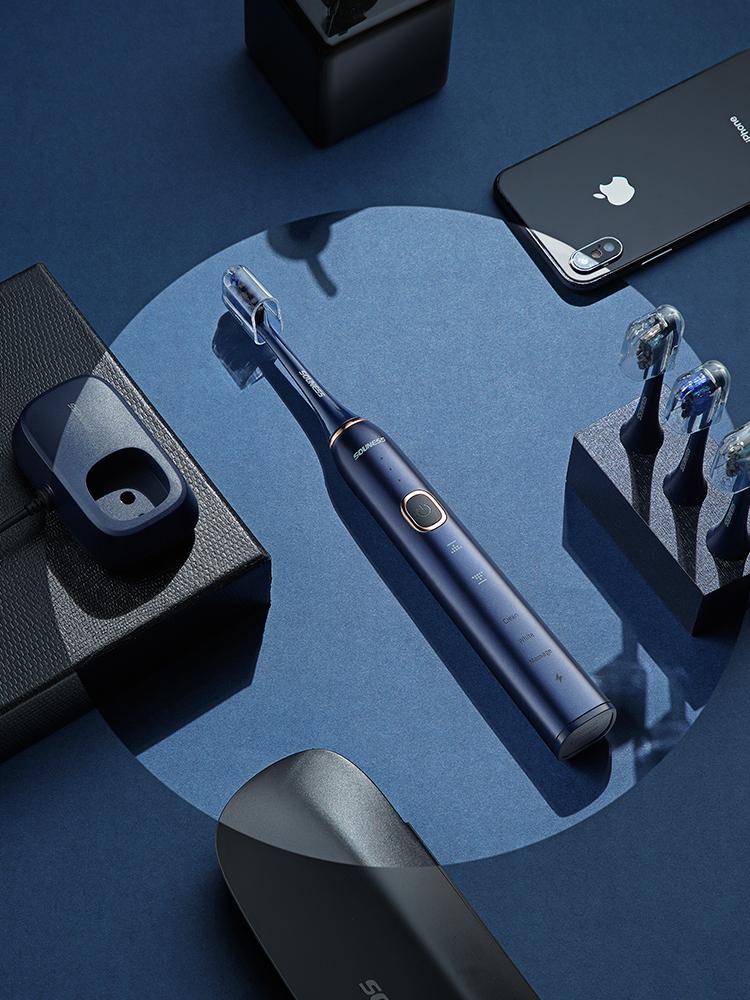 索纳斯电动牙刷智能充电式超声波防水牙刷 【深海蓝】(1支装)