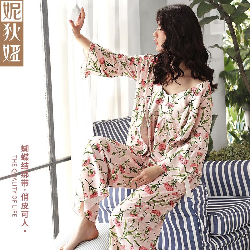 妮狄娅睡衣女春秋纯棉长袖吊带性感三件套春夏薄款家居服套装
