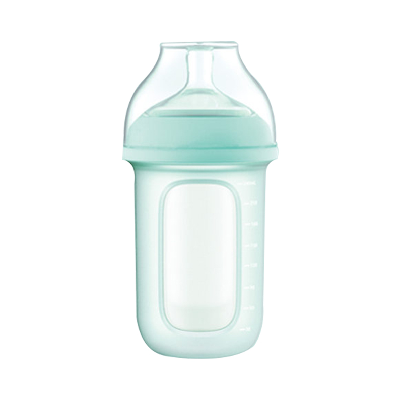 GoodBaby好孩子 新生婴儿宽口径硅胶奶瓶(简装) 母乳实感防胀气 240ml 蓝色