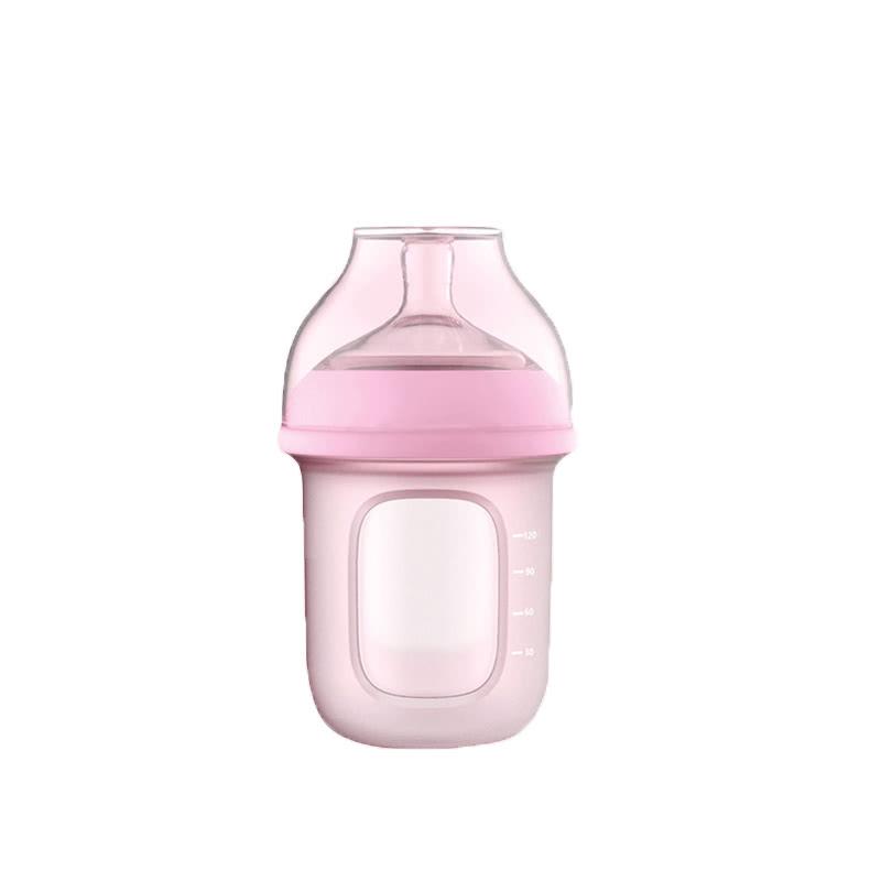 GoodBaby好孩子 新生婴儿宽口径硅胶奶瓶(简装) 母乳实感防胀气 120ml 粉色