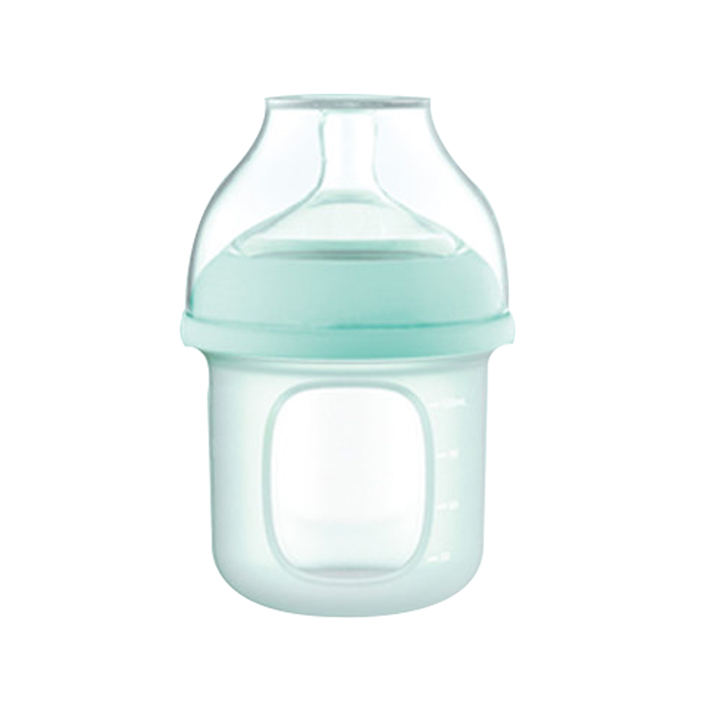 GoodBaby好孩子 新生婴儿宽口径硅胶奶瓶(简装) 母乳实感防胀气 120ml 蓝色