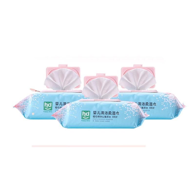 小龙哈彼樱花深层水柔湿巾带盖88片-烧杯龙粉色*5包