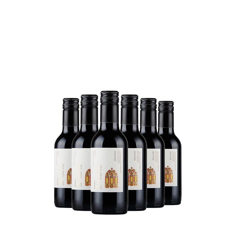 智利原瓶进口红酒 哈雷路亚(ALELUYA)珍藏梅洛干红葡萄酒187.5ml*6