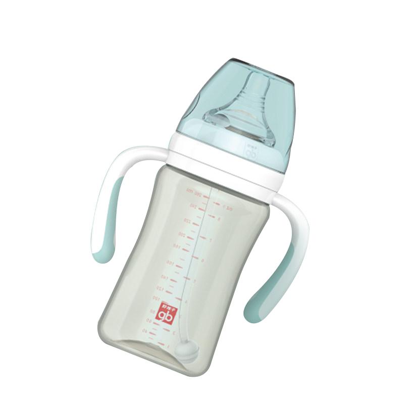 GoodBaby好孩子 婴幼儿奶瓶新生儿宽口径ppsu宝宝吸管奶瓶防胀气耐摔带手柄 260ml (简约款系列-灰绿)B80387