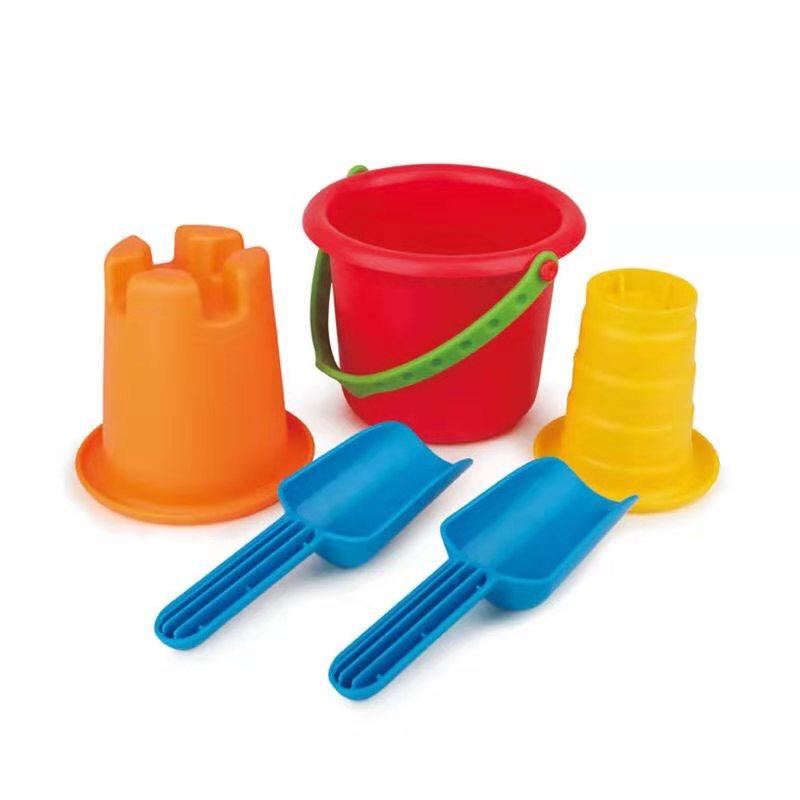 Hape E4053儿童沙滩玩具套装 户外海边戏水挖沙铲子 1-3-6岁早教男女小孩宝宝 E4053 沙模小桶五件套