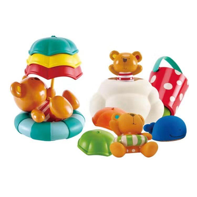 HapeE8376洗澡戏水玩具套装 婴幼儿宝宝浴室漂浮洒水玩水 0-1-3岁男女小孩健身儿童礼物 泰迪朋友们玩偶+假日泰迪漂浮伞堆堆