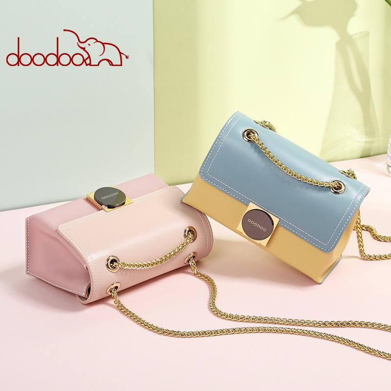 DOODOO 链条小方包包女2019新款潮韩版时尚百搭单肩斜挎包女 D8828