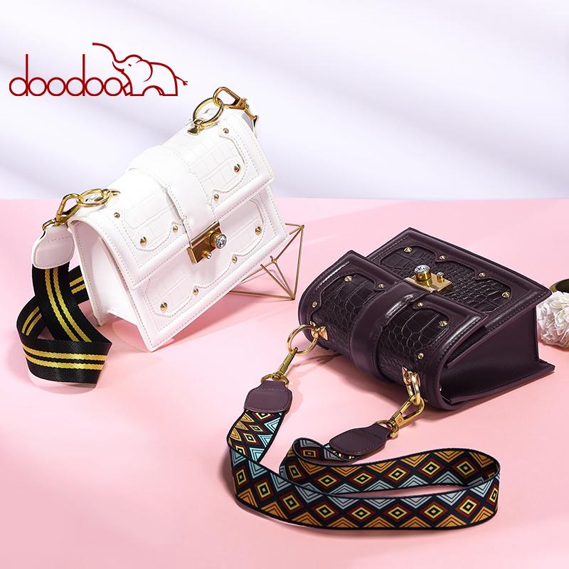 DOODOO 铆钉小方包包女2019新款韩版时尚女单肩斜挎女包 D8826