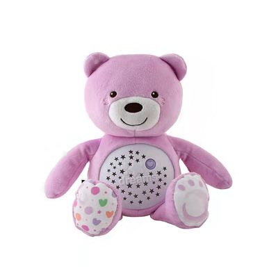 意大利智高夜灯音乐熊安抚助眠音乐发光投影星空灯玩具粉红色