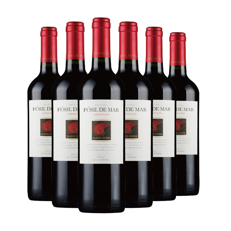 智利原瓶进口葡萄酒 永恒酒庄 螺化石经典卡门妮雅干红葡萄酒750ml*6