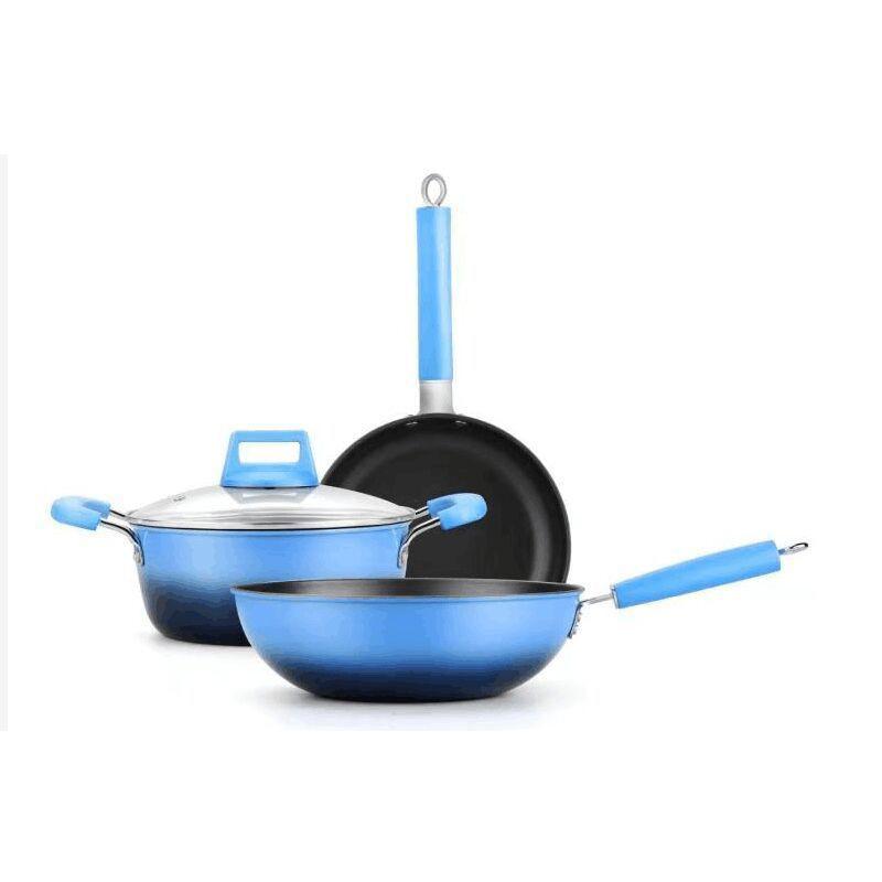 Royalstar/荣事达 锅具套装炒锅汤锅煎锅组合三件套 蓝之享RSD-LZYJT322