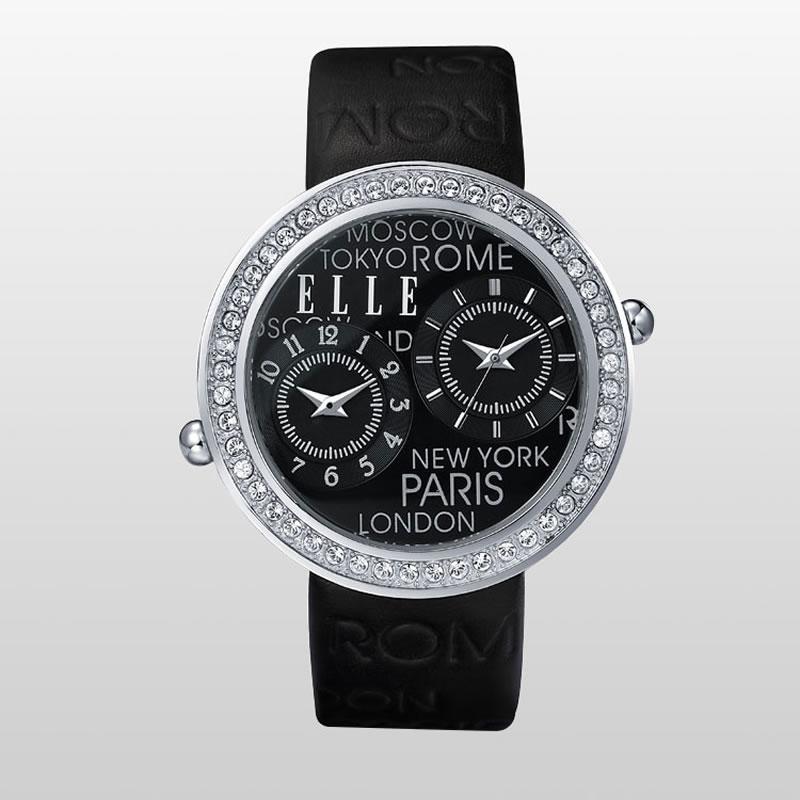 【预售 2月3号发货】ELLE时尚复古真皮防水圆形女士手表盘镶嵌红宝石黑色 EL20038S06C